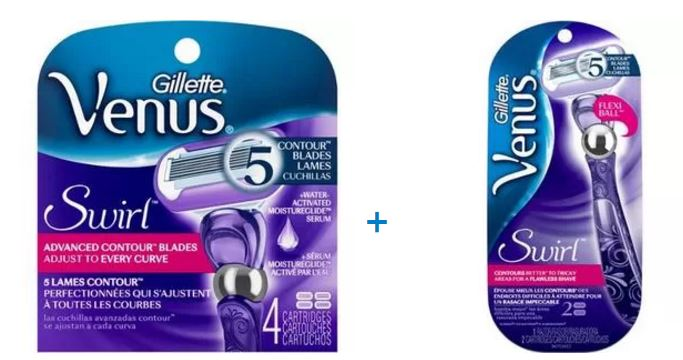 Gillette Venus Swirl Razor and 6 Refills Bundle / Gift Pack (Save up to $8)