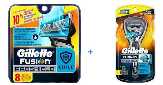 Gillette Fusion ProShield Chill Mens Razor and 10 Refills Bundle / Gift Pack (Save up to $11)