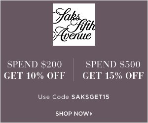 Saks Fifth Avenue Coupon: Up to $275 OFF your $250-$1000+ purchase. Use code SAKS81. Valid 11/10/15-11/11/15