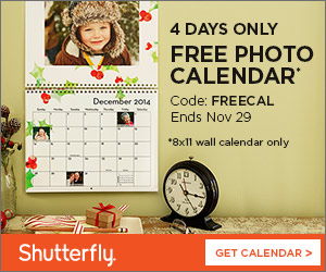 FREE 12-Month Photo Wall Calendar From Shutterfly -- a $21.99 Value (Just Pay Shipping)