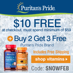 Winter Flash Sale! $10 FREE at checkout + Buy 2 Get 3 Free + Free Shipping!^ Puritan's Pride brand. Code: SNOWFEB. Must spend Minimum of $59