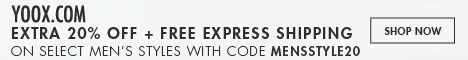 yoox.com: Extra 20% Off Select Men's Styles + Free Express Shipping. Valid May 9th - 11th