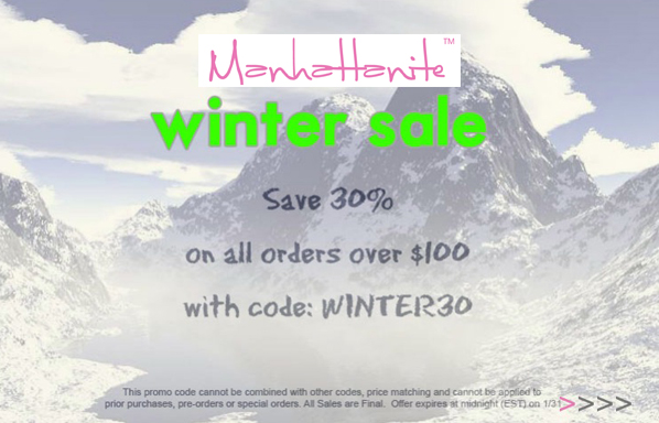 30% off All Orders over $100 at ShopManhattanite.com! Use Code: WINTER30, Valid thru 1/31/13. Shop Now!
