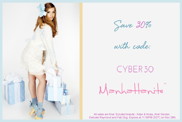 Cyber Sale! Save 30% off All Orders at ShopManhattanite.com! Use Code: CYBER30. Excluded Brands: Aden & Anais, Ariel Gordon, Delicate Raymond & Fab Dog. Shop Now!