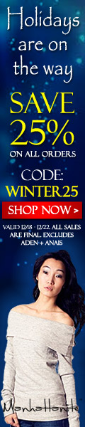 Save 25% on All Orders at ShopManhattanite.com! Use Code: WINTER25. Excluded brands - Aden & Anais. Valid through 12/22/13. Shop Now!