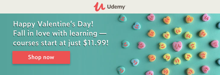 Happy Valentine's! Fall in love with learning — courses start at just $11.99!