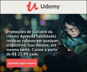 Promoções de Outubro da Udemy. Aprenda habilidades técnicas valiosas em qualquer dispositivo. Isso mesmo, até mesmo neste. Cursos a partir de R$25,99 cada.